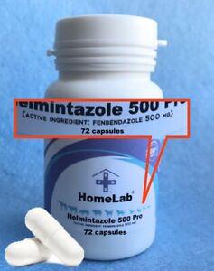 Helmintazole 500 Panacur Dewormer Dog Roundworm Hookworm Tapeworm Whipworm 72cap