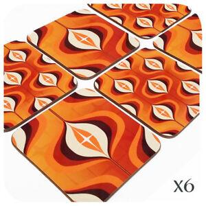 Op Art Print Coasters (6), Orange Coasters, 70's home decor, Mid Century Modern