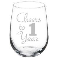 Cheers to 1 Year Anniversary Gift Wine Glass