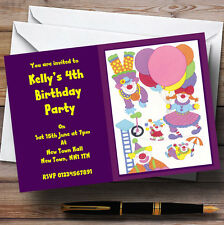 Purple Clowns Cute Children's Personalised Party Invitations