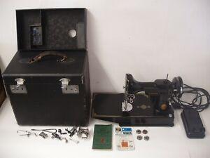 Vintage 1946 Singer Featherweight 221 Sewing Machine w/ Case Accessories Working
