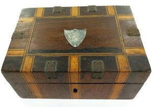 .c1907 ENGLISH INLAID SEWING BOX / .925 SILVER PLAQUE / REMOVEABLE STORAGE SHELF