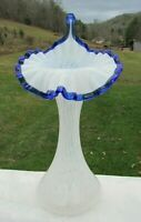 "FENTON 1980's French Opalescent Blue Crest OPALESCENT COIN DOT JIP-Tulip 11""H"