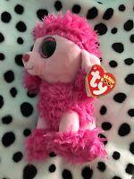 TY Beanie Babies Plush Soft Toy Teddy Poodle Dog Pink BNWT