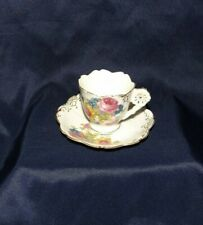 Small Porcelain Cup & Saucer W/Floral Pattern & Gold Accents-Themes, Japan