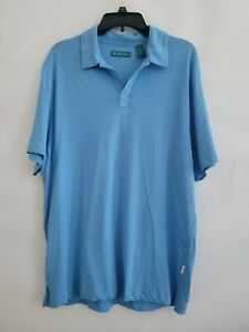 Cubavera Mens Large Azure Blue Split Neck Short Sleeve Signature Polo Shirt