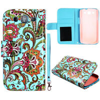 Teal Paisley  Wallet Leather Flip for Samsung Galaxy S III  i9300 Case Cover