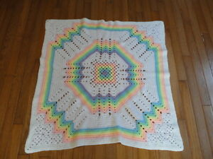 Hand Knitted Baby Blanket Teddy or Doll Rainbow Colors 37 x 38 inches New
