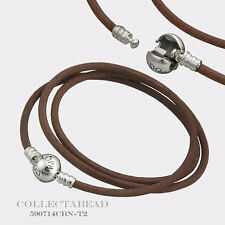 Authentic Pandora Silver Small Friendship Brown Leather Bracelet  590714CBN-T1