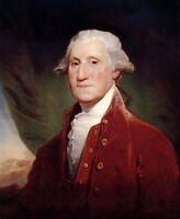 """Stunning Oil painting male portrait George Washington in red cloth canvas 36"""""""