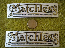 MATCHLESS MOTORBIKE GOLD DECALS CLEAR BACKGROUND PAIR OF