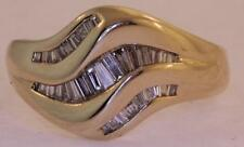14k yellow gold .61cttw VS1 G womens diamond cluster baguette ring band ladies