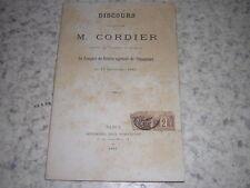 1887.discours Cordier comice agricole Thiaucourt.Meurthe et Moselle