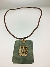 Antique Chinese Sage Green Jade Pendant 18K on Silk Cord Necklance