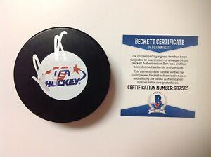 Brady Tkachuk Signed Autographed Team USA U.S.A Hockey Puck Beckett BAS COA a