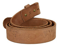 "BS061 TOOLED-EMBOSSED GENUINE FULL GRAIN TOOLED LEATHER BELT STRAP 1-1/2"" Wide"