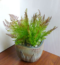 4 Artificial Plastic Plants 7 Leaves Boston Fern Grass
