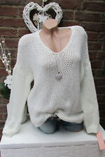 chaud DOUILLET pull tricot grossier vintage EXTRA-LARGE blanc lurex 36 38 40