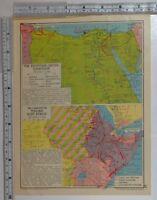 1941 WW2 Landkarte Egyptian-Libyan Campaign Britische ~ Italienische East Afrika