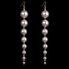 1Pair Simple Pearl Beads Long Chain Drop Earrings Fashion Jewelry For Women