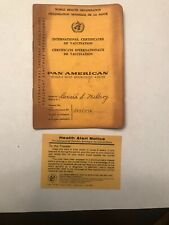 Pan American Airline Airplane World Health Int'l Certificate of Vaccination Vtg