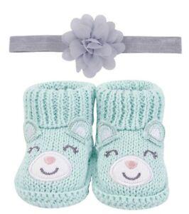 Handgemachte Baby Schuhe, Mädchen - Bärchen türkis
