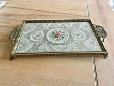 Vintage Filigree Brass Petit Point Lace And Embroidery Dressing Table Tray