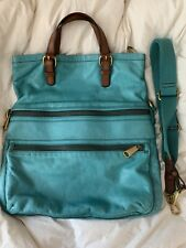 FOSSIL EXPLORER Fold Over Teal Leather Crossbody Messenger Shoulder Bag Tote