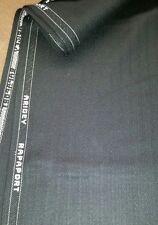 Vintage Italian Wool Suit Fabric   Black Stripes  6 Yards  Free Shipping