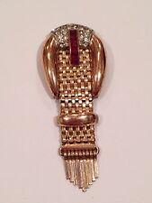 Rare Kreisler Quality Sterling Rose Gold Wash Signed Fur Pin Ruby Rhinestones