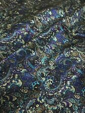 "MINT INDIGO BROWN Paisley Print Viscose Rayon 60""W Fabric Suit Ties Lining Shirt"