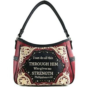 Justin West Gives Me Strength Philippians 4:13 Bible Verse Concealed Carry Purse