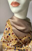 Rare CHANEL Scarf Jewelry~Crystals, Gold Chain Taupe Cashmere Blend Silk Vintage