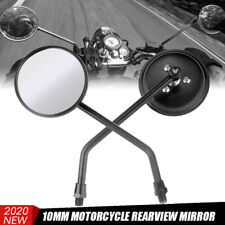 Universal Round Motorcycle Rearview Side Mirrors 10mm For Honda Yamaha Cruiser
