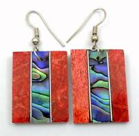 Natural Abalone Shell and Red Coral Dangle Drop Earrings Handmade Jewelry EA237
