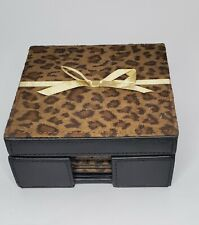 New listing Set Of 4 Leopard Print Coasters In Suede Leather Holder New