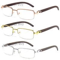 New Mens Women Retro Vintage Clear Lens Eye Glasses Half Frame Wood Fashion Wrap