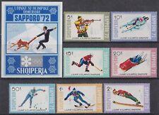 Albania, 1972, Winter Olympic Games Sapporo, set + souvenir sheet