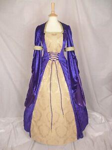 Purple Medieval Dress Renaissance Wedding Gown Pagan Dress Custom made to size