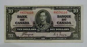 Bank of Canada - 1937 - $10 Bank Note - BC-24c - Avg. Circulated