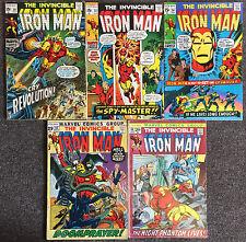 Invincible Iron Man 1st Series # 29 33 34 43 44 Marvel Comics Lot Fine / VF