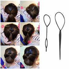 2Pcs Ponytail Creator Plastic Loop Styling Tool Black Topsy Pony Tail Hair Braid