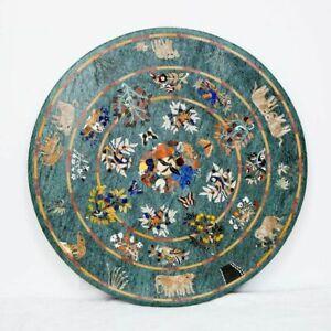 "48"" Marble Dining Table Top Semi Precious Stones Handmade work"