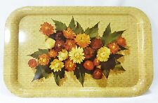 Vintage TV tray metal tin snack lap serving brown floral mid century
