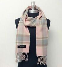 New 100% CASHMERE SCARF SCOTLAND SOFT Wool Wrap Plaid Pink / Lavender tan brown