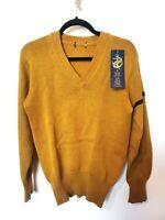 Vintage S Yellow Knit V-Neck Jumper Stripe Mustard Ochre Chunky Small XS Womens