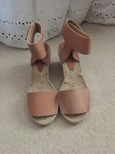 "NEW VINCE ""SOPHIE"" WOMENS LEATHER ESPADRILLE ANKLE STRAP WEDGES/SZ 9M/MSRP $395"