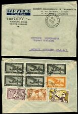 FRENCH INDOCHINA 1947 CHRYSLER AUTOMOTIVE ENVELOPE 9 STAMP FRANKING AIRMAIL