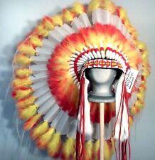 Native American White SUNDANCER War Bonnet Feather Headdress