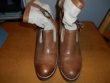 Lucky Brand Brown Leather and Fabric Upper Boots Size 9